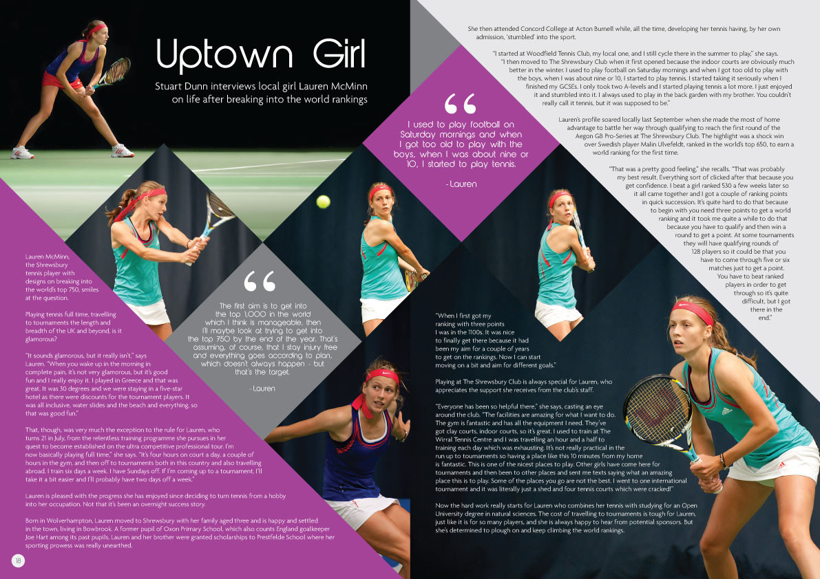 Aegon tournament programme double page spread 2014 example 1