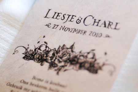 Liesje &amp; Charl: Wedding Stationery &amp; Decor details