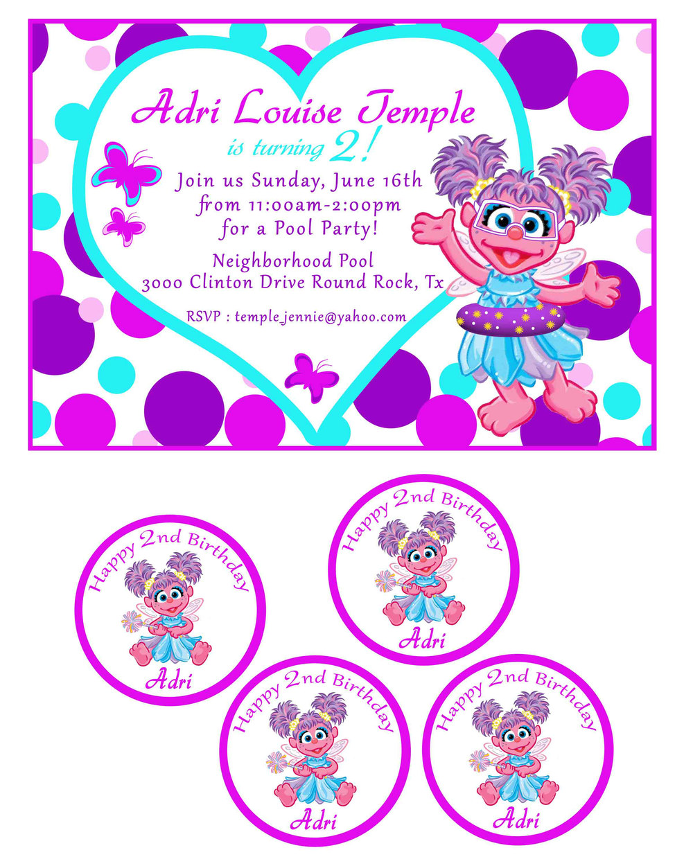 Child's Birthday Invite and Cupcake Toppers