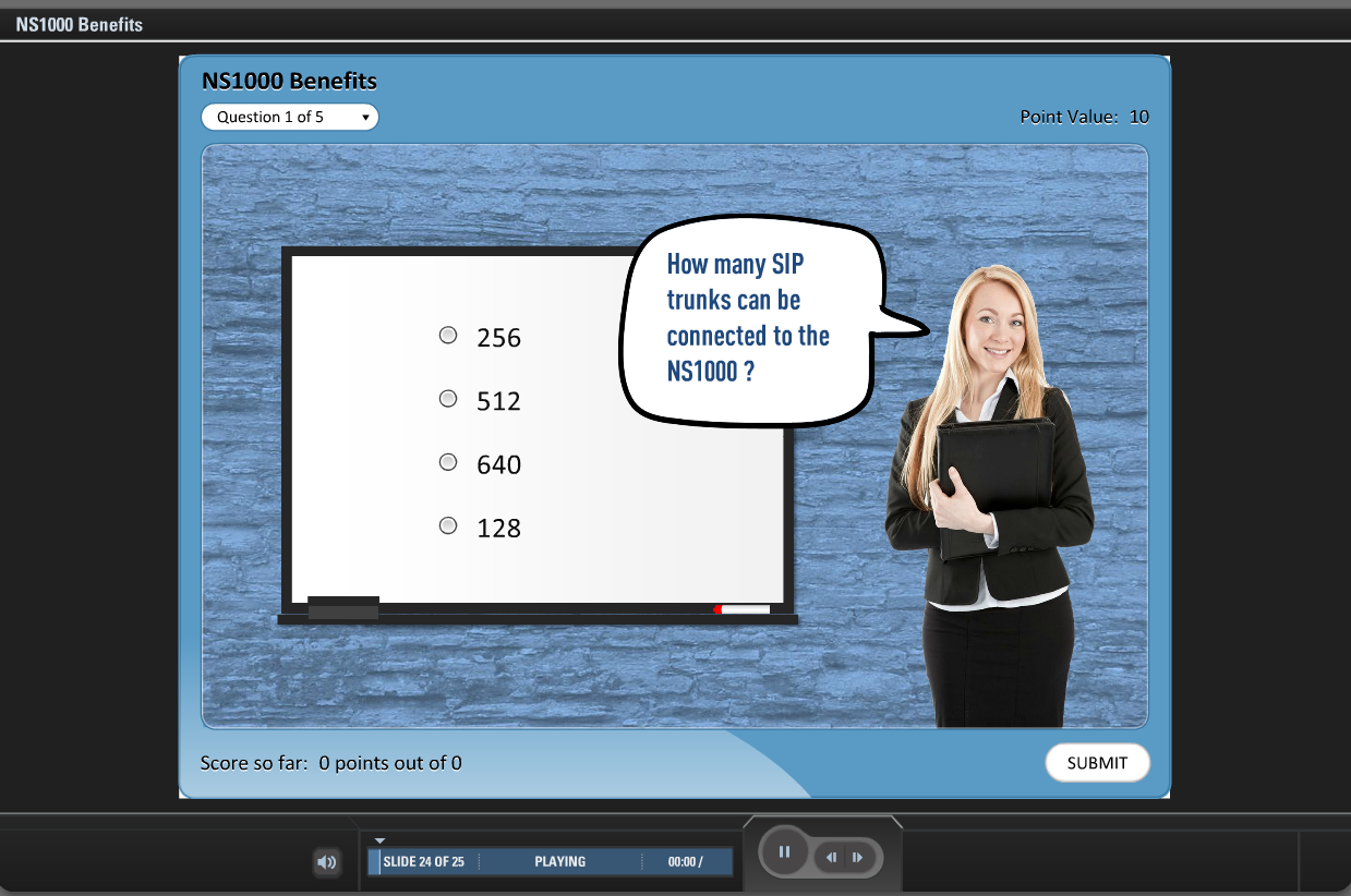 E-learning quiz