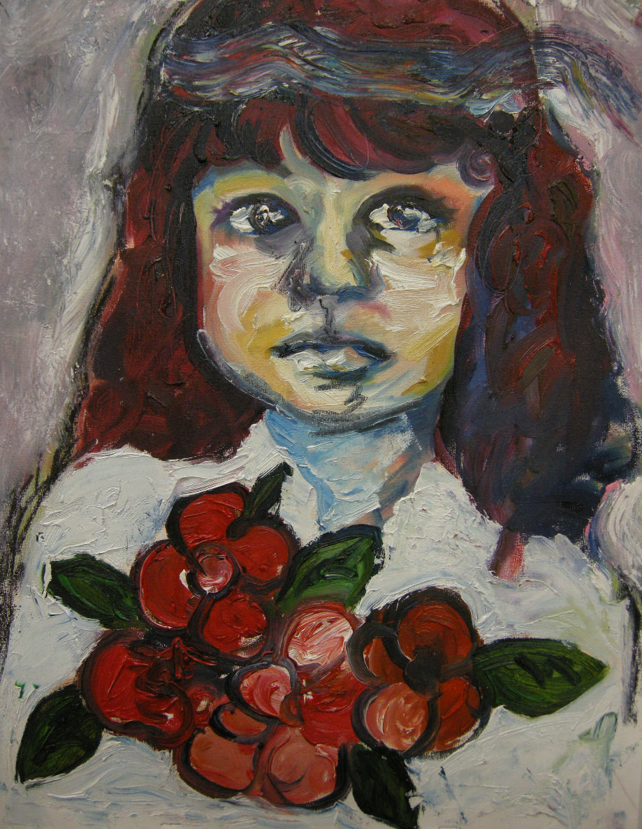Portrait of young girl with flower