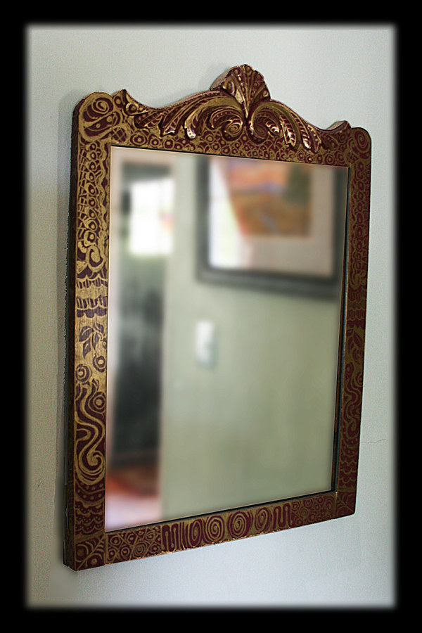 Mirror with Gilded Zentangle