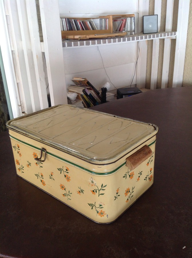 Before painting- vintage tin box